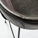 Zed Gray Faux Leather + Black Powder Coated Steel Modern Bar Stool - Seat Back Detail