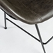 Zed Gray Faux Leather + Black Powder Coated Steel Modern Bar Stool - Seat Side Detail