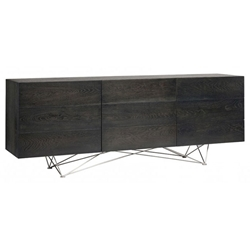 Zelda Ebonized Oak + Stainless Steel Truss Base Modern Rustic Sideboard