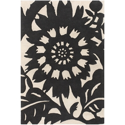 Zinnia 3'x5' Rug in Black and Cream