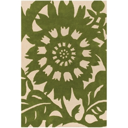 Zinnia 3'x5' Rug in Green and Cream