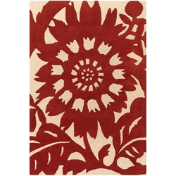 Zinnia 5x8 Rug in Red and Cream