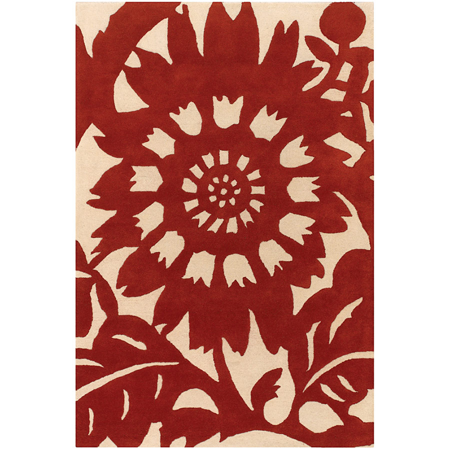 Zinnia 5'x8' Rug in Red and Cream