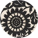 Zinnia Round Rug in Black and Cream