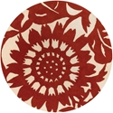 Zinnia Round Rug in Red and Cream