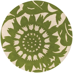 Zinnia Round Rug in Green and Cream